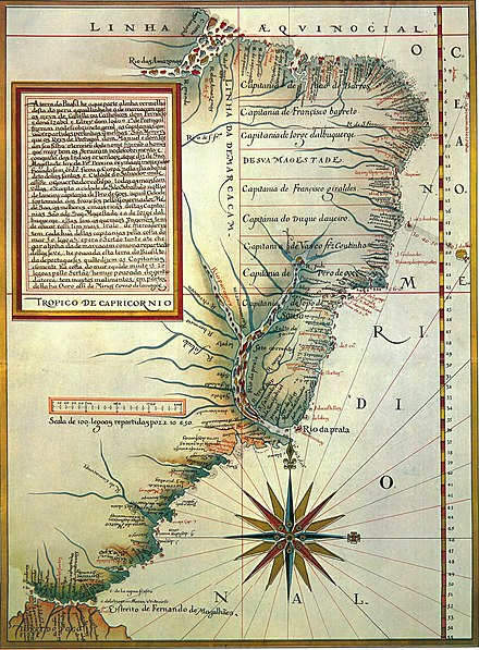 A map from 1574 showing the 15 hereditary captaincy colonies of Brazil Capitanias.jpg