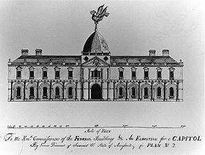 "United States Capitol - Design for the U.S. Capitol, ""An Elevation for a Capitol"", by James Diamond was one of many submitted in the 1792 contest, but not selected."