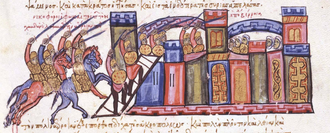 Sayf al-Dawla - Capture of Aleppo by the Byzantines, miniature from the Madrid Skylitzes