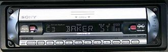 Fourteen-segment display - LCD fourteen-segment characters on a modern car stereo