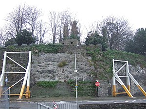 Cardigan Castle - Cardigan Castle ramparts, photographed in 2006 with some walls held up by temporary buttresses.