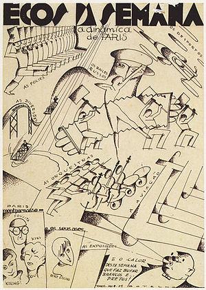 Carlos Botelho - Echoes of the Week - In Paris, May 1929, Indian ink on paper, 44.5 × 30.5 cm