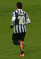 Tevez wearing non 10 Juventus shirt (back)