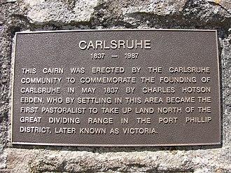 Carlsruhe, Victoria - Image: Carlsruhe commemoration plaque