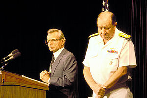 Iran Air Flight 655 - U.S. Secretary of Defense Frank Carlucci and Chairman of the Joint Chiefs of Staff Admiral William Crowe brief media representatives at the Pentagon about the shootdown on 19 August 1988.