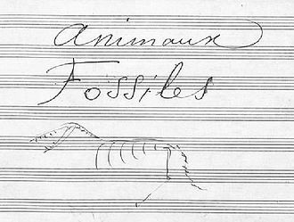 "The Carnival of the Animals - Title page to ""Fossils"" in the manuscript including drawing by the composer"