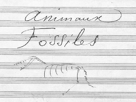 "Title page to ""Fossils"" in the manuscript including drawing by the composer Carnaval Fossiles.jpg"