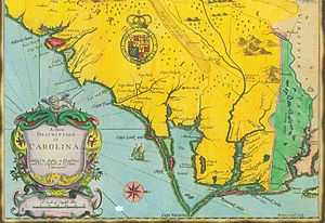 "The Carolinas - A New Description of Carolina"", engraved by Francis Lamb (London, Tho. Basset and Richard Chiswell, 1676)"