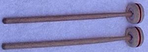 Percussion mallet - Cartwheel mallets, with wooden shafts and heads of felt held between steel washers