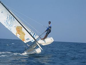 catamaran sailing on one hull