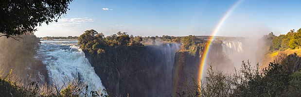 View of the Victoria Falls of the Zambezi River, border between Zambia and Zimbabwe.