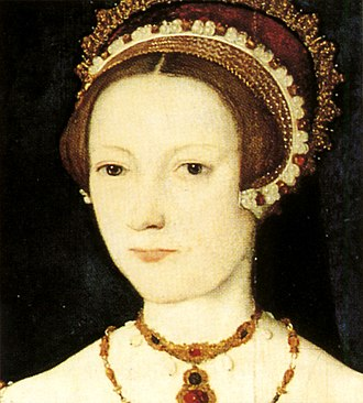 Catherine Parr - Detail of Catherine's headdress and jewels.