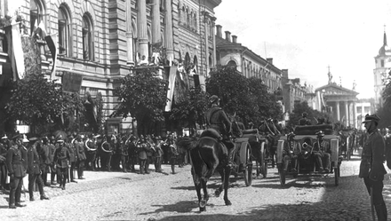 "Celebration of incorporation of Vilnius Region to Poland in 1922. The event sparked vast Lithuanians anger with a popular interwar chant: ""Mes be Vilniaus nenurimsim!"" (English: We will not calm down without Vilnius! ). Celebration of incorporation of Vilnius Region to Poland 1922.PNG"