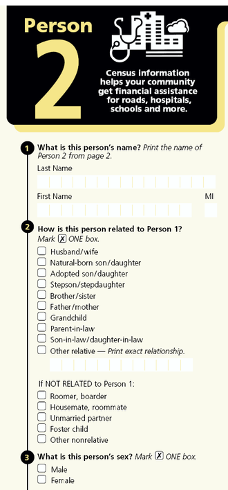 Census 2000 Long Form Questionnaire showing the Person 2 section including questions 2 and 3 which allow data to be compiled regarding same-sex partners Census2000Person2.png