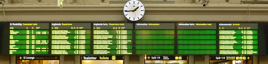 Hovedbanegårdens nye informationstavle i centralhallen, marts 2013.