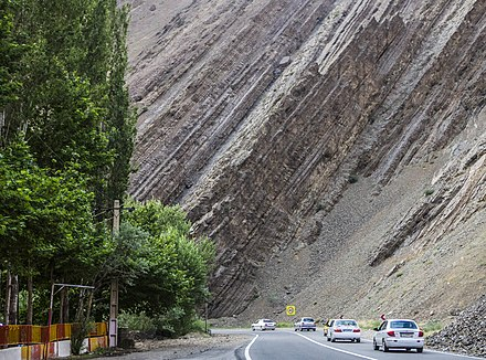 Steeply dipping sedimentary rock strata along the Chalous Road in northern Iran Chalus road - ninara 02.jpg