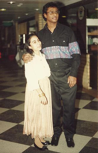 Chandima Gomes - Prof. Chandima Gomes with his wife in Sweden in late 90s