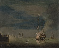 Charles Brooking: A Two-Decker on Fire at Night off a Fort