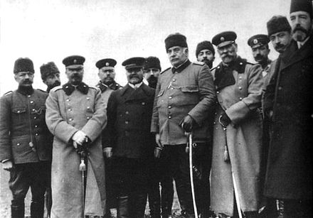 The delegates at the Catalca armistice; General Ivan Fichev, Nazim Pasha and General Mihail Savov are seen in the first row. Chataldja armistice.jpg