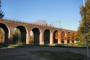 Chelmsford - The 18-arch Victorian Railway Viaduct that carries the Great Eastern Main Line through Central Park.