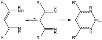 NacNac - Tautomers of a substituted HNacNac ligand precursor and an idealized complex (right) of the conjugate base (M = metal, L = other ligand)