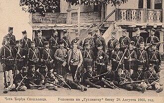 Ljuba Jezdić - Serbian Chetnik Vojvoda Đorđe Ristić Skopljanče and his četa. Skopljanče in the centre, other notables in the photo include Ljuba Jezdić in the top row, third from the left, and Vojin Popović-Vojvoda Vuk next to him. Photo taken in 1905.