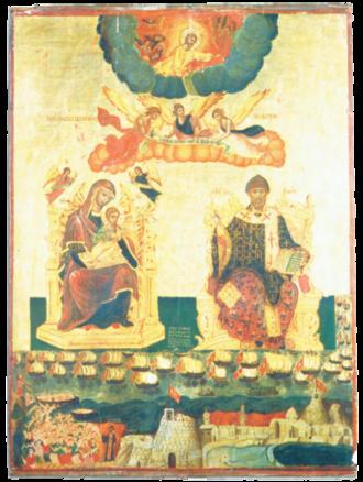 Ottoman–Venetian War (1714–1718) - The miracle of Corfu; byzantine icon in Santa Maria Assunta church of Villa Badessa, Italy