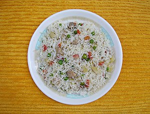 Dish (food) - A Chinese rice dish on a plate