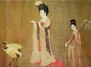 Women's history - Beauties Wearing Flowers, by Tang Dynasty Chinese artist Zhou Fang, 8th century.