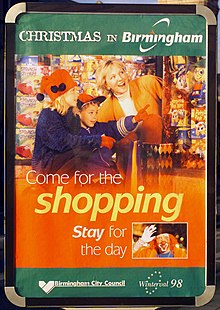 """Poster with the headline 'Christmas in Birmingham', then a picture if a mother and children, with the words 'Come for the shopping, stay for the day'. Below that, in smaller type, the Birmingham City Council and Winterval 1998 logos."""