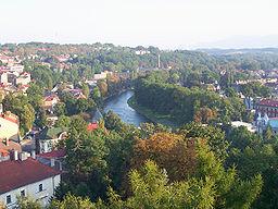 Den delte by Cieszyn.   Cieszyn (til venstre), floden Olza (i midten) og ČeskYXYXYX Těšín (til højre). (set fra Wieża Piastowska.)