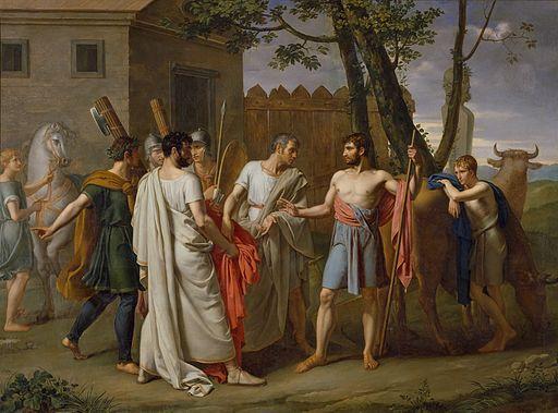 Cincinato abandona el arado para dictar leyes a Roma, c.1806 de Juan Antonio Ribera