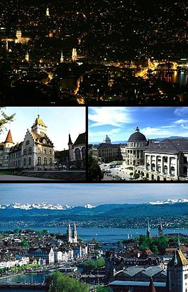 Top: Nicht view o Zurich frae Üetliberg, Middle left: National Museum, Middle right: Swiss Federal Institute of Technology, Bottom: View ower Zurich an the lake.