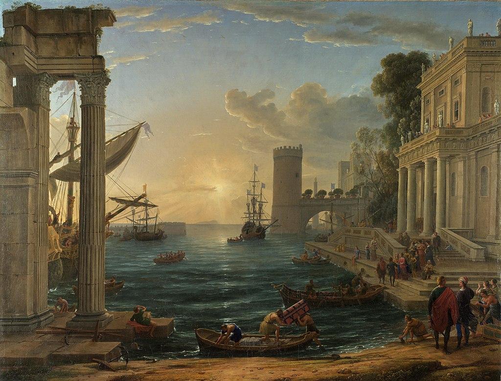 스바 여왕이 승선하는 항구 (클로드 로랭, 1648년)