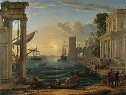 Claudio de Lorena: Puerto con el embarque de la Reina de Saba