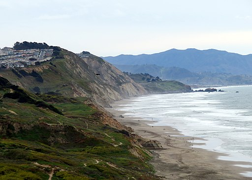 Cliffs along Thornton State Beach, March 2020