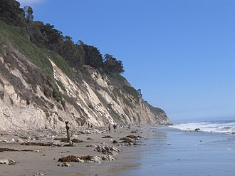 Eastward view of the coastal bluffs of the Douglas Family Preserve park from Arroyo Burro Beach. Cliffs at Arroyo Burro Beach Park.jpg