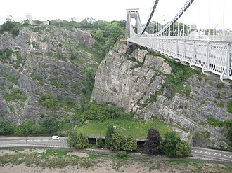 Portway, Bristol - At the southern end of the Portway by the Clifton Suspension Bridge, a concrete canopy protects against falling rocks.
