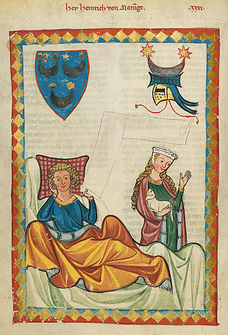 Heinrich von Morungen - Miniature of Heinrich von Morungen from the Codex Manesse.