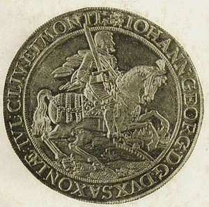 Münzkabinett - Coin of 1628 depicting John George I, Elector of Saxony and the Saxonian coat of arms