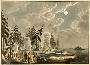 Fur brigade - Brigade of York boats camping on Lake Winnipeg by Peter Rindisbacher in 1821 showing sails being used as boat coverings.