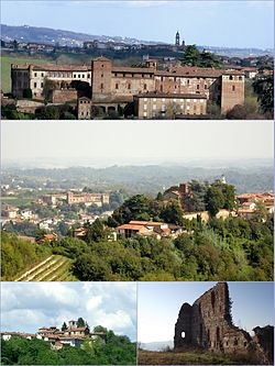 From above: Medieval Castle; the borough and castle of Primeglio with Passerano in the background; Schierano (lower left) and (right) remains of the castle of Marmorito.