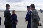 Colonel Ronald E. Shoopman (right center) briefs Arizona Governor Jane Dee Hull during her visit to the Air National Guard's alert detachment facility.jpg