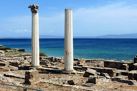 The Phoenician and subsequently Roman town of Tharros. - Sardinia