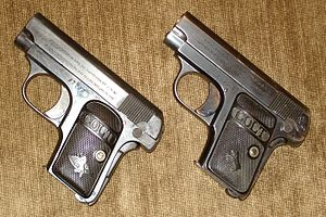 Colt Model 1908 Vest Pocket - Two variants of the Colt Auto Pocket pistols, Calibre .25, Hammerless.