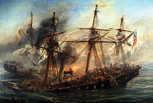 Esmeralda (1855) - Painting by Thomas Somerscales of the sinking of Esmeralda by Huáscar during the Battle of Iquique