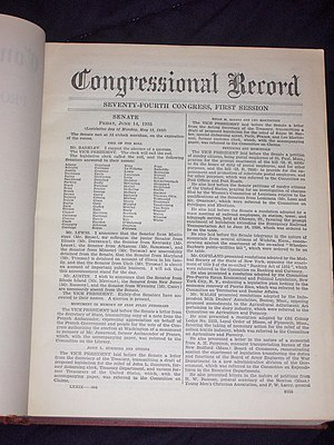 Congressional Record - A page from the June 14 to June 28, 1935, Congressional Record.