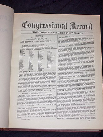 A page from the June 14 to June 28, 1935, Congressional Record. Congressional record 1935 p1.JPG