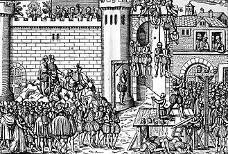 French Wars of Religion - Contemporary woodcut of the executions of Protestants at Amboise