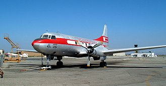 Convair CV-240 family - A restored Convair CV-240 in Western Air Lines livery, at the Planes of Fame Museum in Chino, California, US